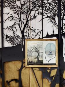 Katharina Meister - 2012, und es regnet..., Papierschnitt, Zeichnung im Holzrahmen, 330 x 451 cm