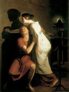 Joseph Benoît Suvée (1743-1807), Dibutades, oder: Die Erfindung der Malerei, 1793, Brügge, Groeningemuseum