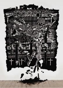 Annette Schröter: Freier Fall 2011,  Papierschnitt, 340 × 280 cm