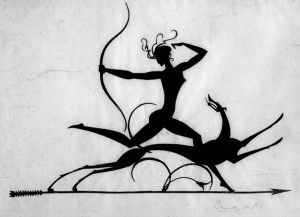 William Hunt Diederich/ Ernst Moritz Engert Diana, um 1920 Schwarzschnitt, 18 x 26,5 cm August Macke Haus Bonn