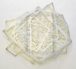 Gabriele Basch: sicht, 2008, Lack auf Papierschnitt, 105x128 cm