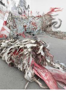 """Nadja Schöllhammer ,""""Terra Incognita"""", 2010 (Rauminstallation, Detail), Papierobjekte mit Einbrennungen, Cut-Outs, Draht, Asche, Acrylfarbe, Kreide und Aquarell, 1700 x 500 x 380 cm, Foto: Eric Tschernow"""