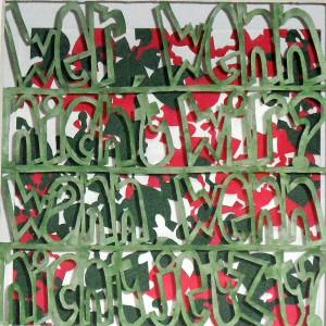 Ruth Bühlmann: Wer wenn nicht wir, wann wenn nicht jetzt, 2014, 15x15 cm