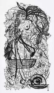 "Zipora Rafaelov: ""Yona"" 2011, Cutout, 160x90cm, Tusche, Pergament."