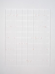 Katharina Hinsberg, o.T. (Linien/Gitter), 2015, Farbstift auf Papier, ausgeschnitten, 180 x 150 cm, Courtesy Galerie Fahnemann, Berlin, Foto: Achim Kukulies, Düsseldorf, © VG Bild-Kunst, Bonn 2015