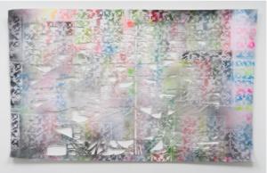 Gabriele Basch: siedlung 3, 2015, 133 x 212 cm. Lack auf Papierschnitt. Foto: Marcus Schneider
